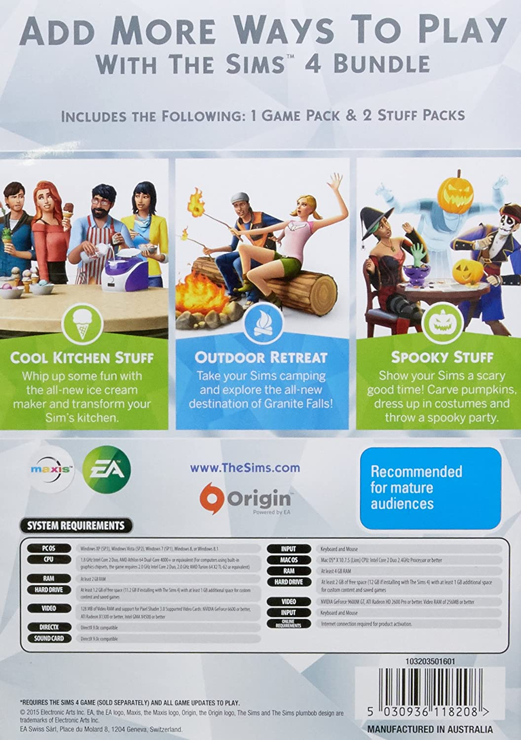 THE SIMS 4 BUNDLE PACK (Outdoor Retreat, Cool Kitchen Stuff, Spooky