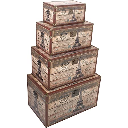 Set Of 4 Wooden Chests Of Paris Eiffel Tower Wooden Treasure Chest 18 / 25 /
