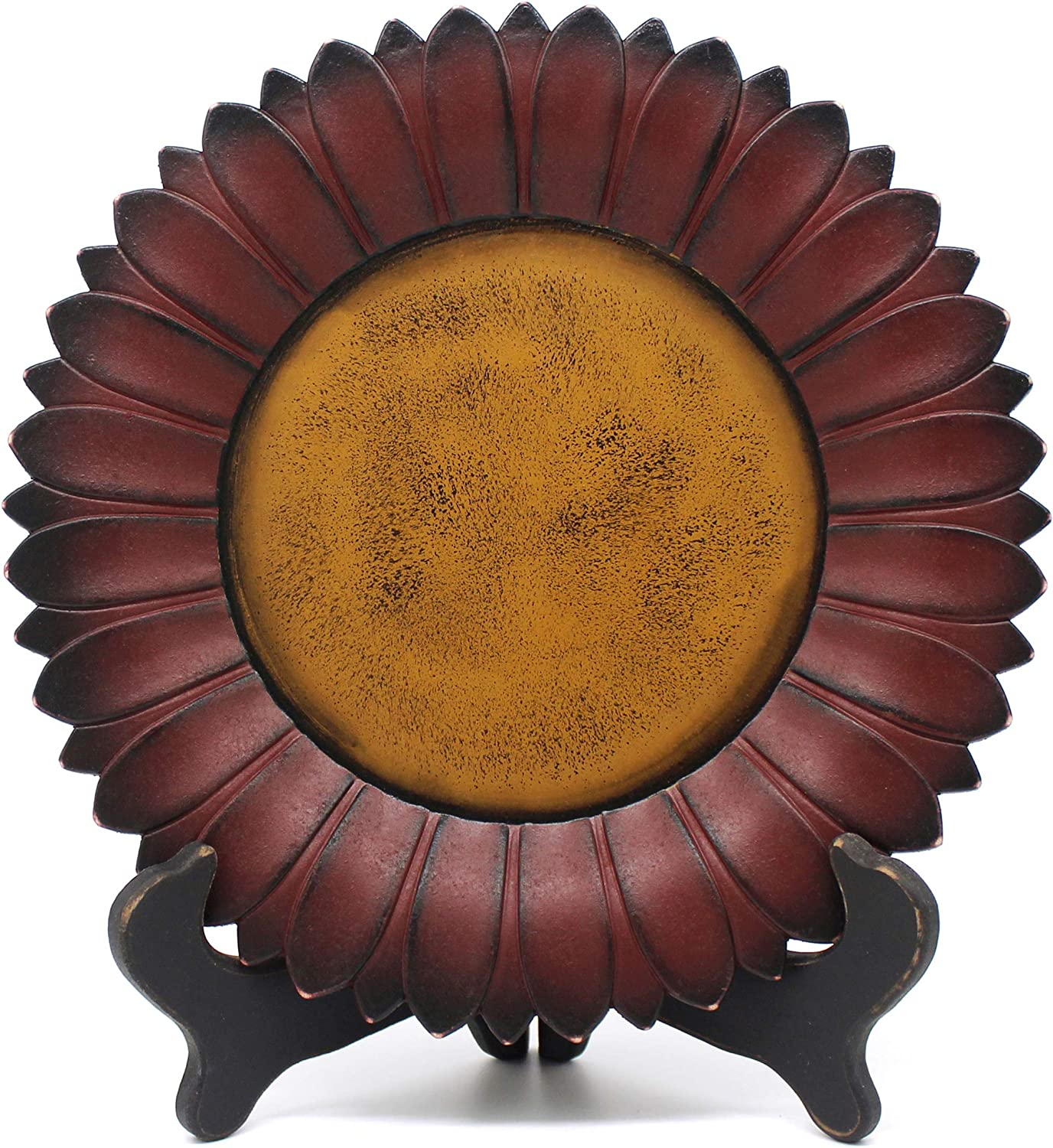 11 Inch CVHOMEDECO Burgundy Plate Only Sunflower Shape Plate Country Vintage Display Wooden Plate Home and Office D/écor Art