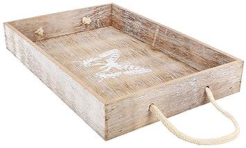 com-four® Bandeja Decorativa de Madera de diseño Vintage con patrón de Mariposa (