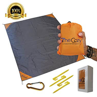 Sand Free Compact Beach Blanket - Pocket Picnic Sheet For Outdoor Multiple Use | Best Mat For Travel & Festivals, Soft & Quick Drying With 4 Portable Tent Pegs and a Unique Gift Box
