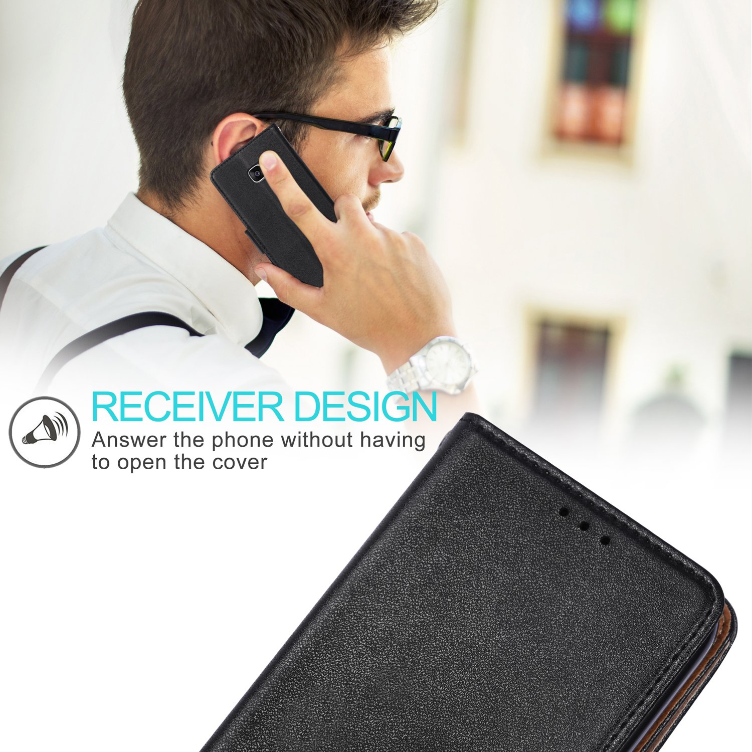 Galaxy S7 Case Aicoco Flip Cover Leather - Black 5.1 inch Phone Wallet Case for Samsung Galaxy S7