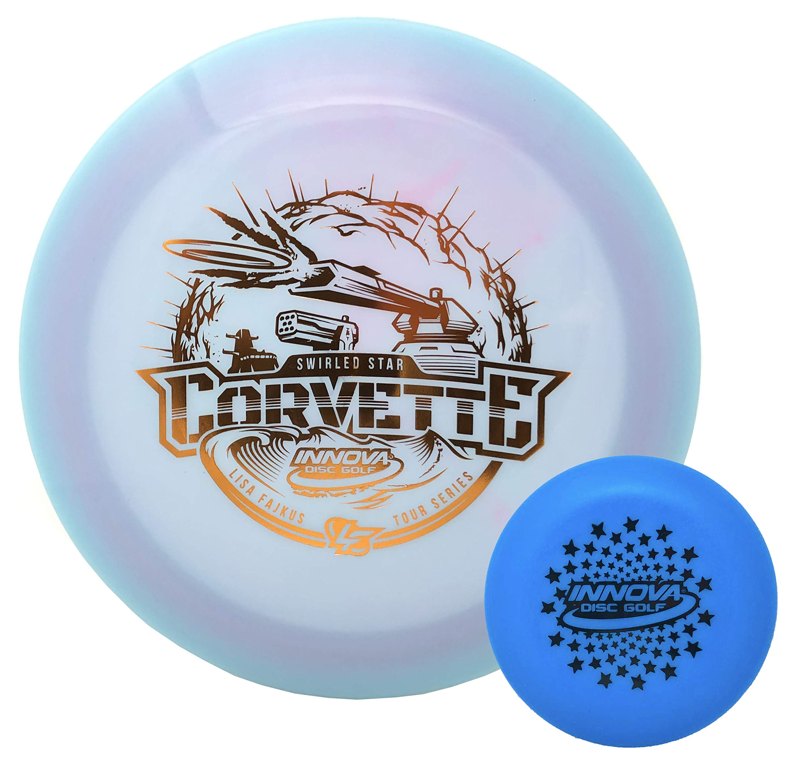 Innova Disc Golf Tour Series Lisa Fajkus Swirled Star Color Glow Champion Corvette 173-175g with Stars Stamp Innova Mini (Colors Will Vary) by Innova Disc
