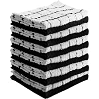 Utopia Towels Kitchen Towels (12 Pack) Cotton - Machine Washable - Extra Soft Set of 12 Black White Dobby Weave Dish Towels, Tea Towels, Bar Towels