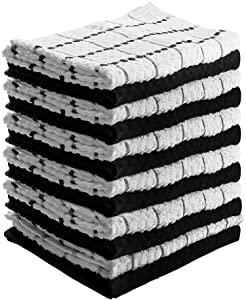 Utopia Towels Kitchen Towels (12 Pack, 15 x 25 Inch) Cotton - Machine Washable - Extra Soft Set in Black White Dobby Weave Dish Towels, Tea Towels, Bar Towels