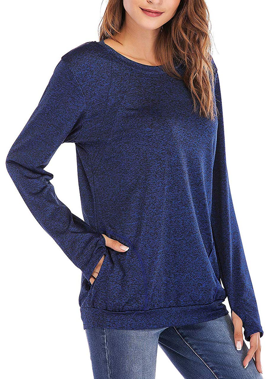 Seunala Women's Casual Solid Sweatshirts Long Sleeve Tunic Tops Round Neck Loose Comfy Pullover Pockets