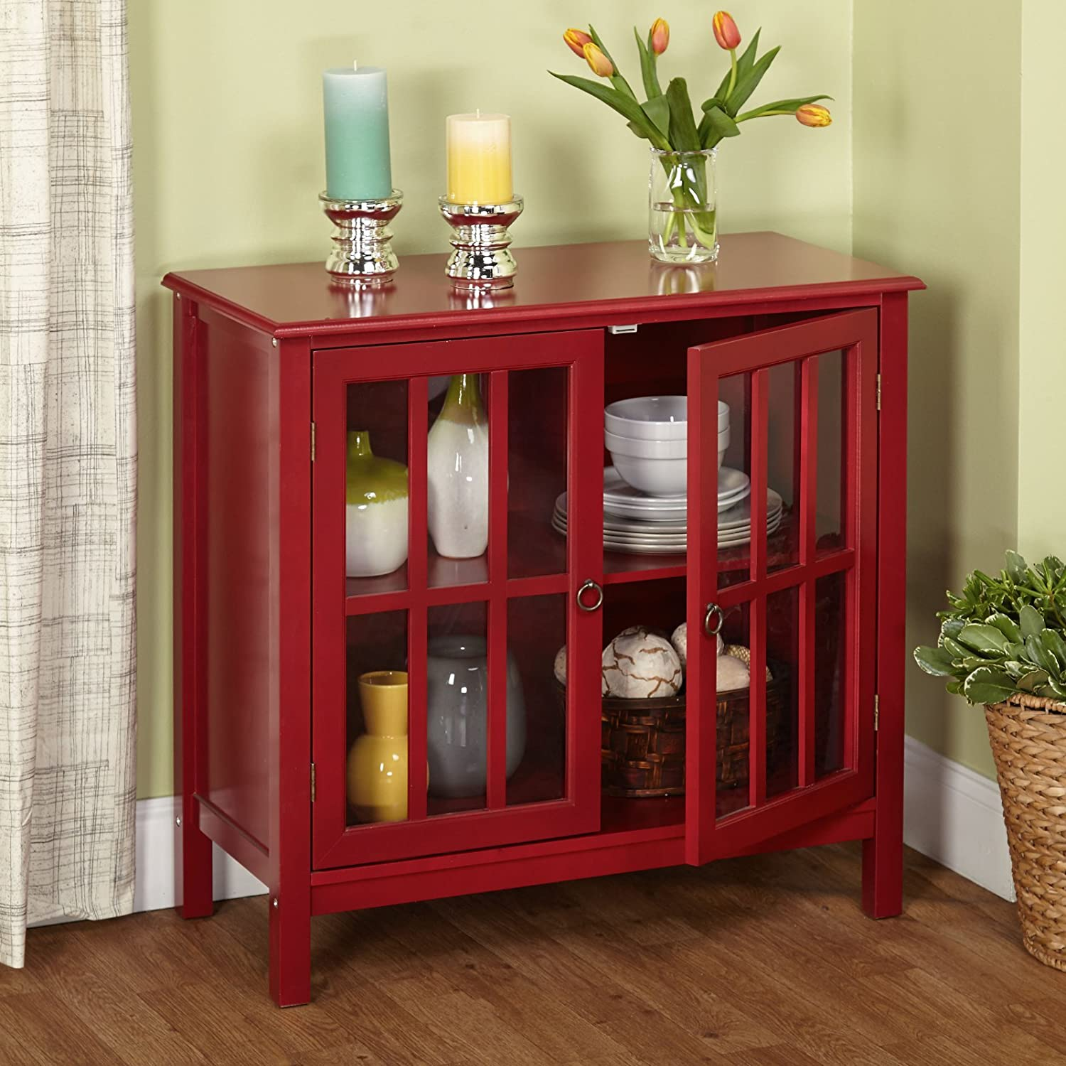 Amazon.com   Target Marketing Systems 13080RED Portland Cabinet, Red    Buffets U0026 Sideboards