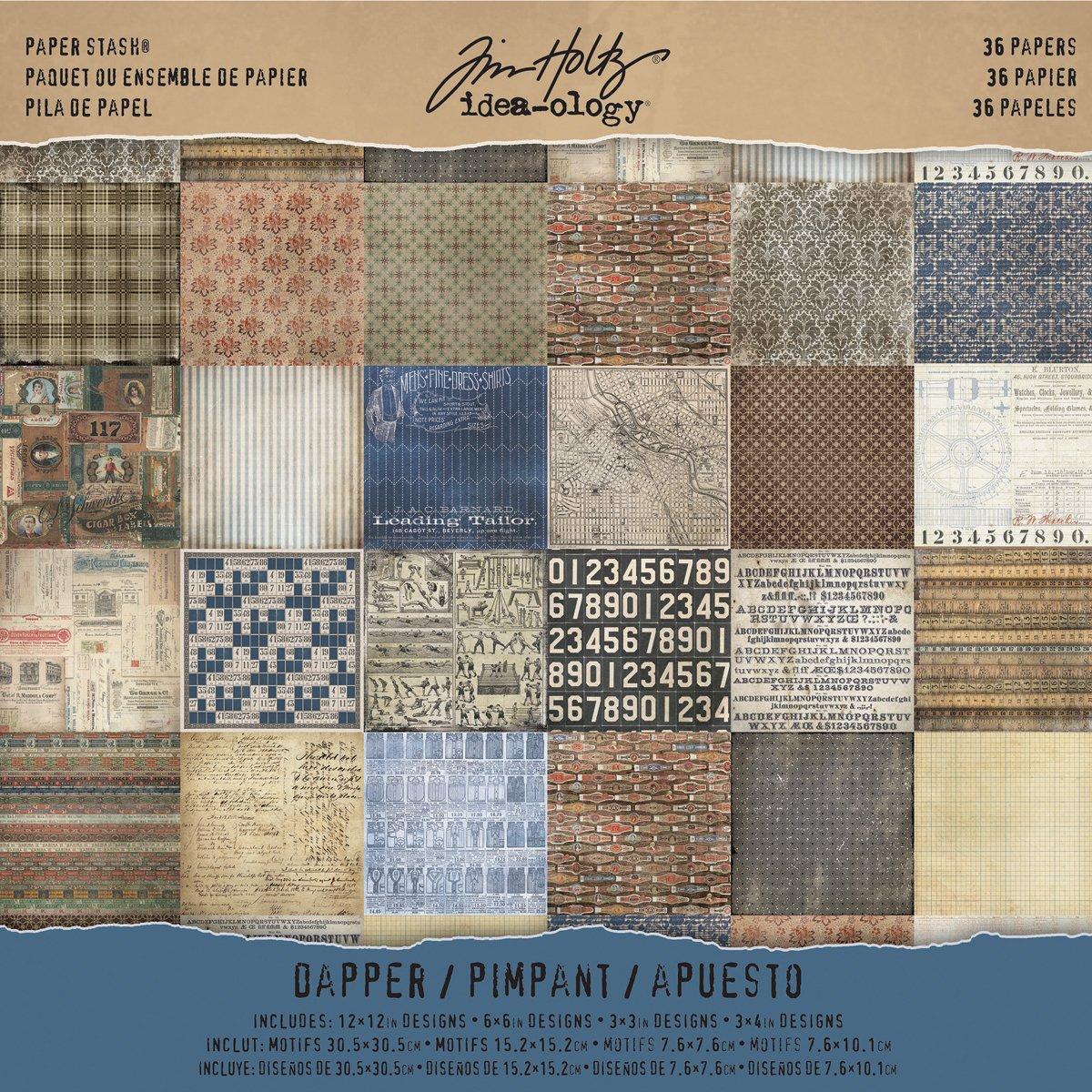 Advantus Tim Holtz Idea-Ology Collection 12 x 12 Paper Stash Dapper (6 Pack)