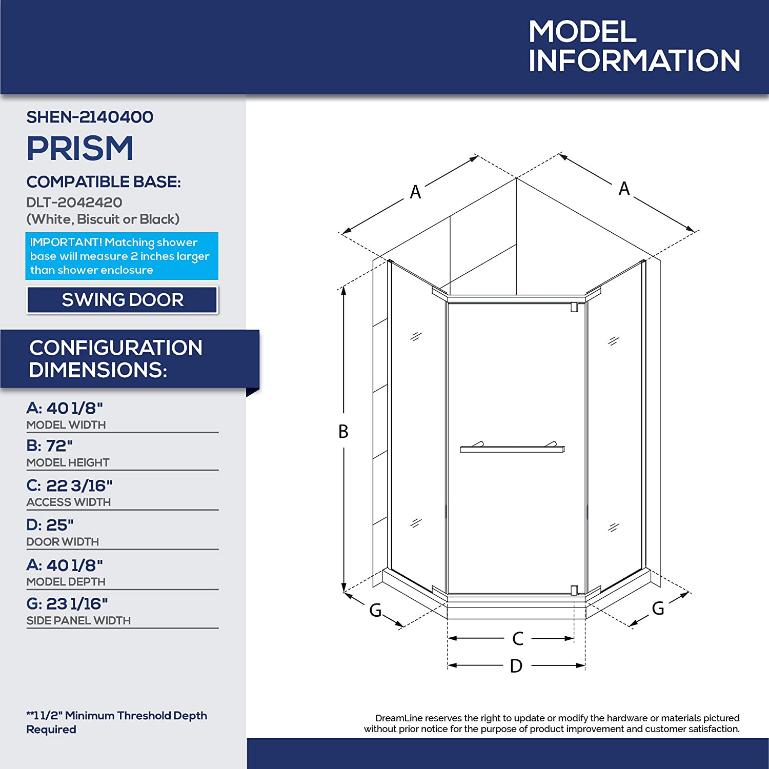 DreamLine Prism 42 in  x 74 3/4 in  Frameless Neo-Angle Pivot Shower  Enclosure in Chrome with Biscuit Base Kit