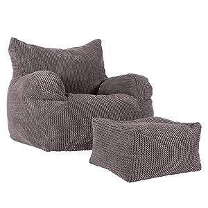 Lounge Pug®, Pouf Repose Pied, Pompon Anthracite