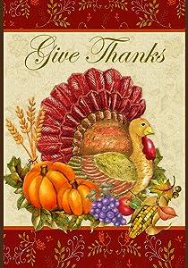 Toland Home Garden Thankful Turkey 12.5 x 18 Inch Decorative Give Thanks Harvest Thanksgiving Garden Flag