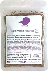 High Protein Fish Food 50 Gram, 1.76 oz, 40.5% Protein Betta 1 Formula in re-closable Bag