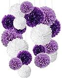 Papier de soie pompons, Recosis Boule de fleur en papier pour fête d'anniversaire de mariage Baby Shower de mariage de douche Décorations de festival, Lot de 18 ? Violet, Lavande et Blanc