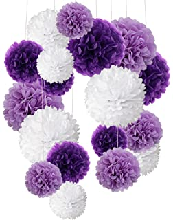 Amazon 16pcs Tissue Paper Flowers Ball Pom Poms Mixed Paper
