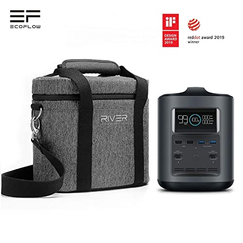 EF ECOFLOW River 370 Portable Power Station, 370Wh Solar Generator 500W Backup Battery Powered Supply with 110V 300W AC Outlets, DC Outputs, 60W USB PD Ports for CPAP Outdoor Camping Emergency w Bag