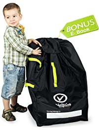 VolkGo Durable Car Seat Travel Bag with Bonus e-Book –– Ideal Gate Check Bag for Air Travel & Saving Money –– for Safe & Secure Car Seat –– Fits Car Seats, Infant Carriers & Booster