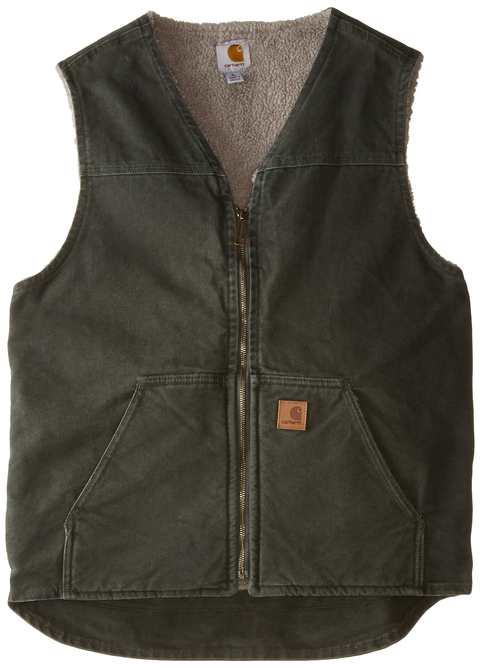 Carhartt Men's Big & Tall Sherpa Lined Sandstone Rugged Vest V26,Moss,X-Large Tall
