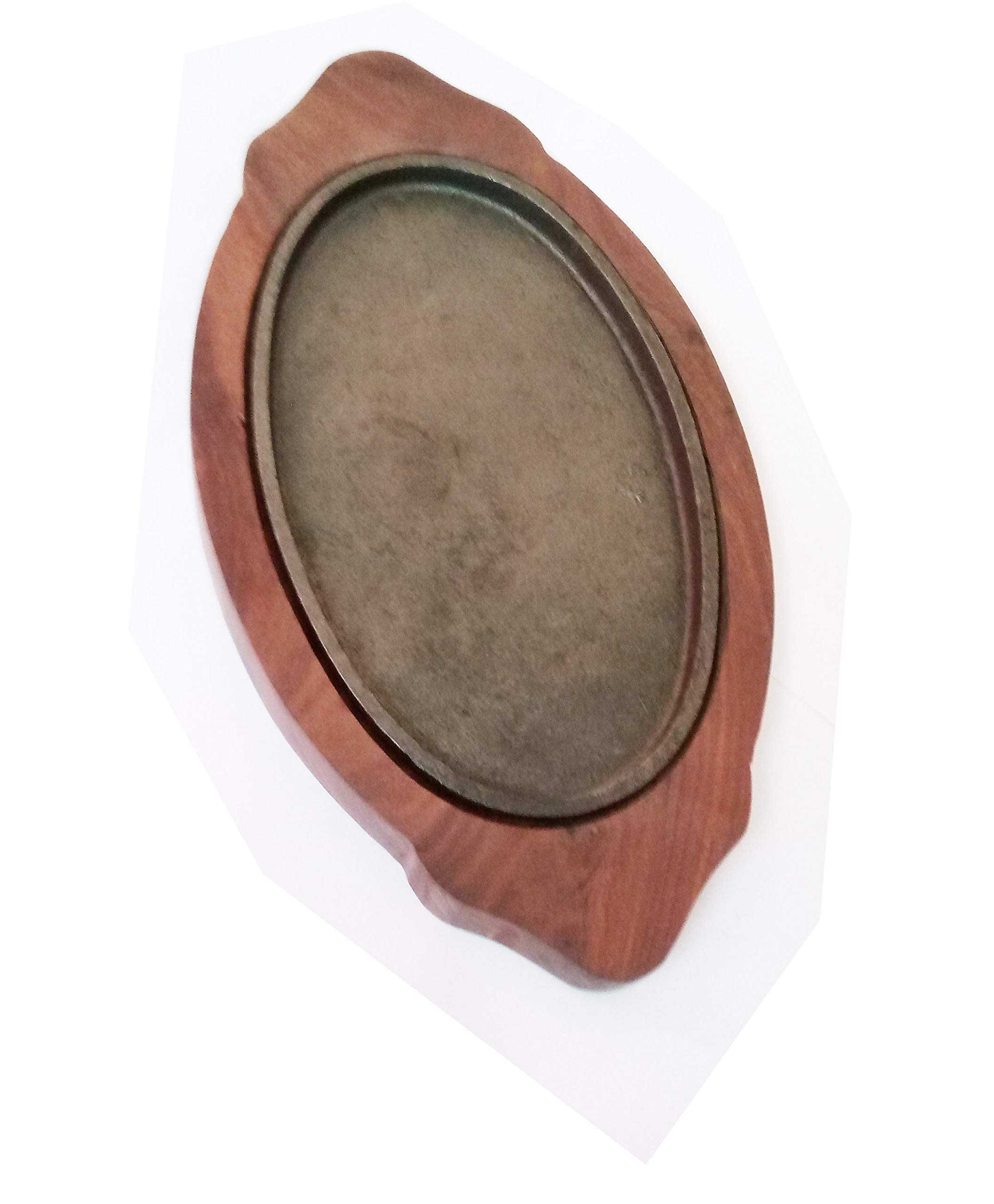 Sahishnu Online And Marketing Fajita Pan with Wooden Tray, Sizzling Brownie Sizzler Plate/Tray with Wooden Base Oval by Shradha Trading (Image #7)