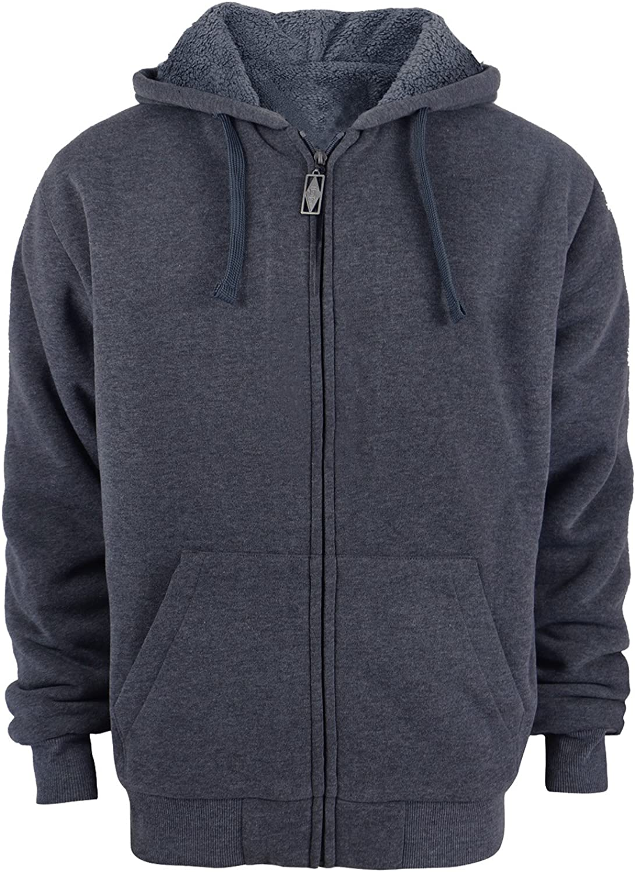 Gary Com Heavyweight Sherpa Hoodies for Men, Thick Fleece Lined Full Zip Up Winter Warm Sweatshirts Work Jackets