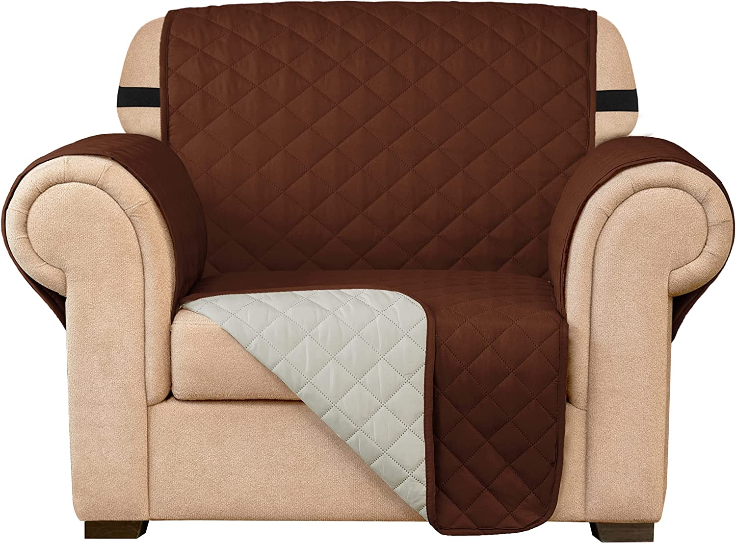 Subrtex Sofa Slipcover Reversible Chair Cover Quilted Couch Cover Furniture Protector with Elastic Straps in Living Room Washable Slip Cover for Pets Kids Dogs (Chair, Chocolate)