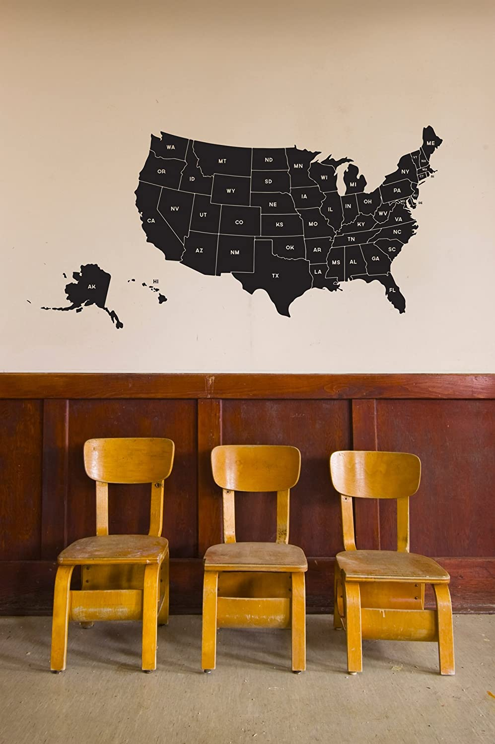 amazon com us state map black large vinyl wall art decal for homes offices kids rooms nurseries schools high schools colleges