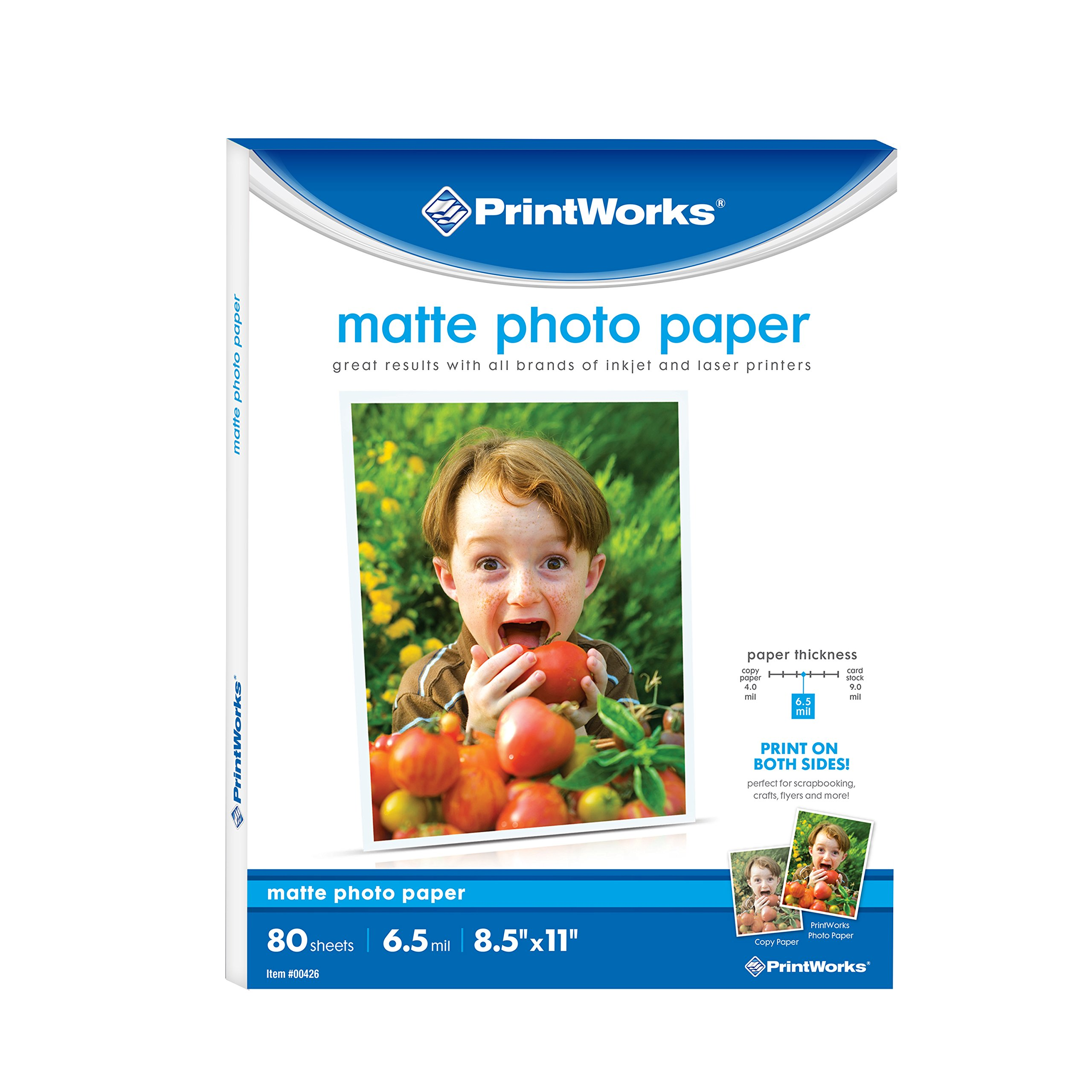 Printworks Matte Photo Paper for Inkjet Printers, Printable on Both Sides, 6.5 mil, 8.5 x 11 inches, 80 Sheets (00426-6)