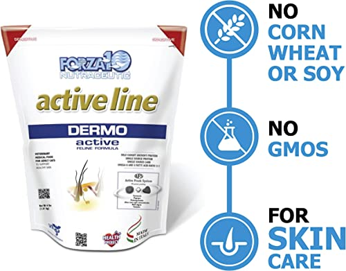 Forza10 Active Dermo Support Diet Dry Cat Food for Adult Cats, Natural Limited Ingredient Cat Food for Skin Problems