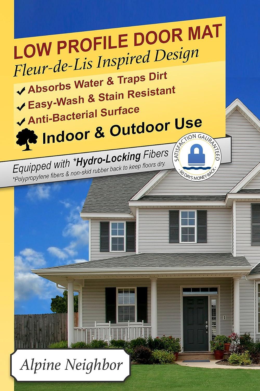 Amazon.com : Alpine Neighbor Door Mat | Washable Indoor/Outdoor Low Profile  Doormat With Fleur De Lis Door Inspired Design Entrance Rug For Home Front  Entry ...