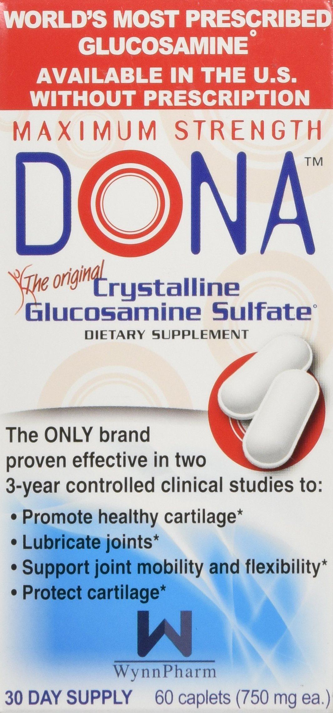 DONA Crystalline Glucosamine Sulfate 60 caplets [Health and Beauty] by WynnPharm, Inc.