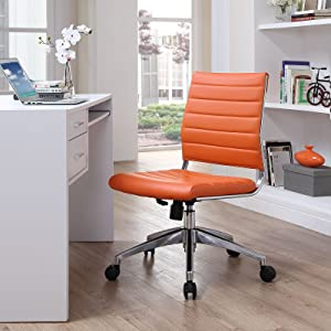 Modway Jive Ribbed Armless Mid Back Swivel Conference Chair In Orange