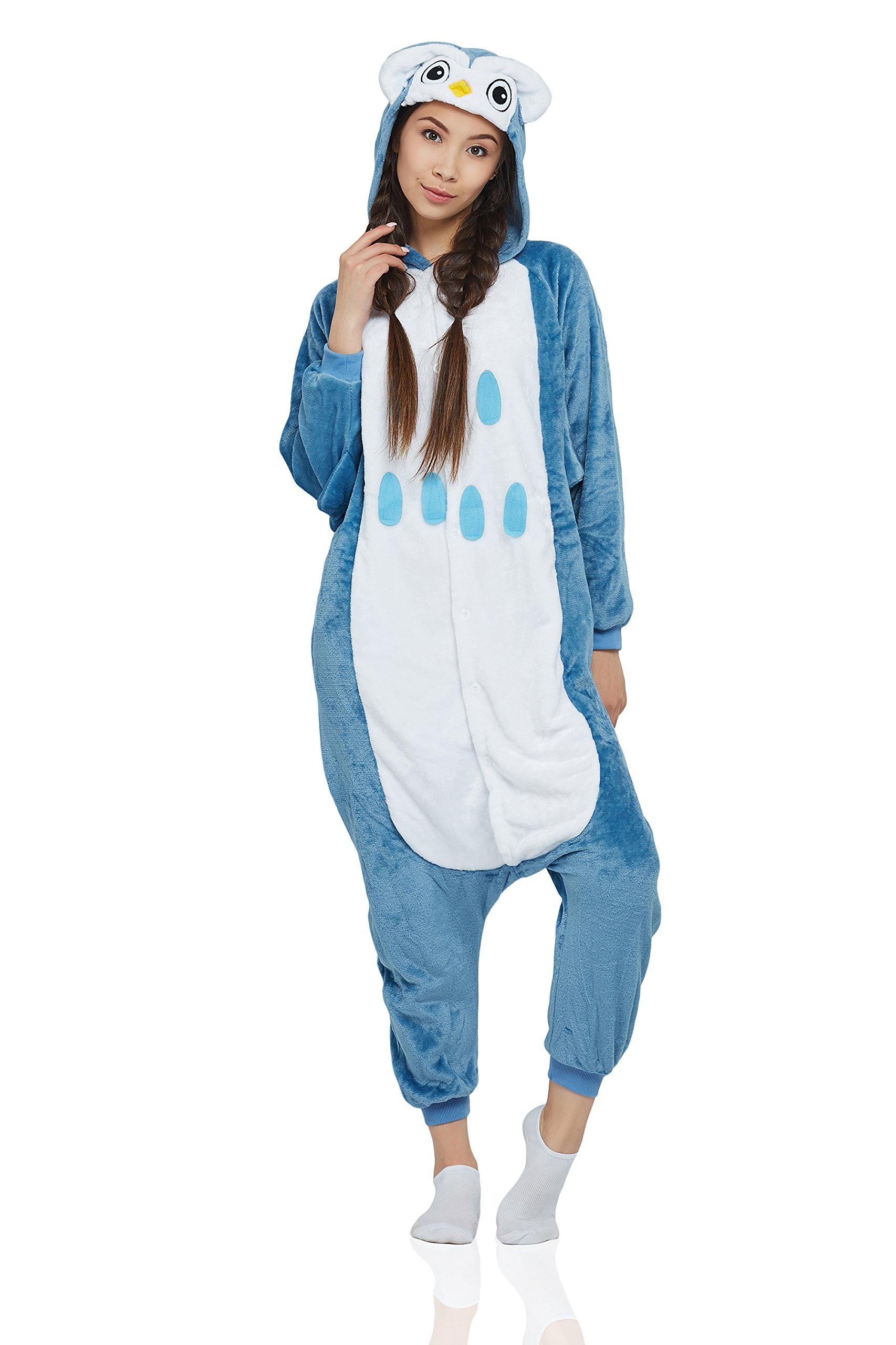 Nothing But Love Adult Owl Kigurumi Animal Onesie Pajamas Plush Onsie One Piece Cosplay Costume (Small, Dark Blue, White)