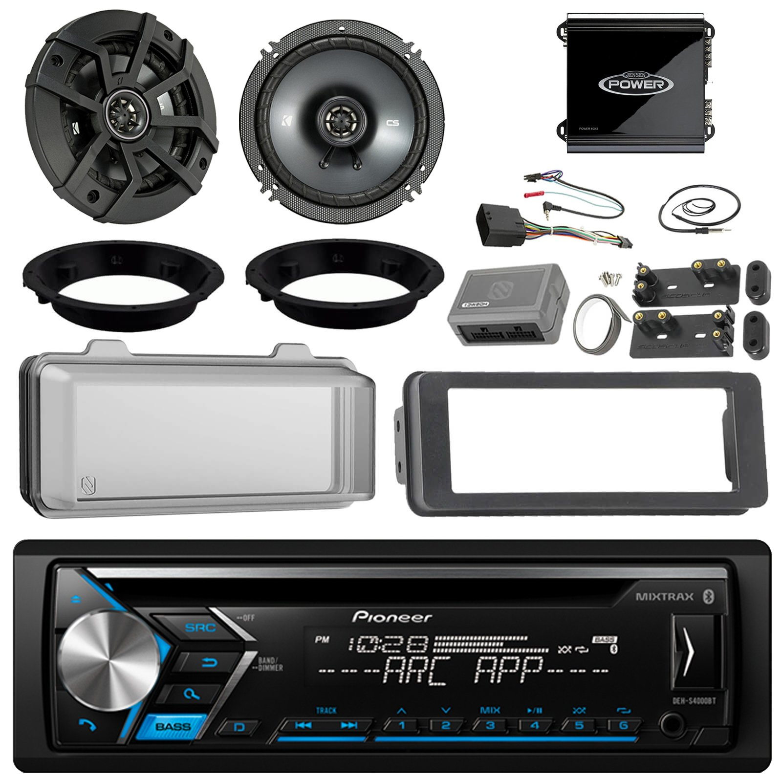 Pioneer DEH-S4000BT CD Receiver Bundle / 2 Kicker 6.5'' Speaker + Motorcycle Speaker Adapters + Amplifier + Dash Kit W/ Radio Cover + Handle Bar Conrol for 98-2013 Harley Davidson + Enrock Antenna