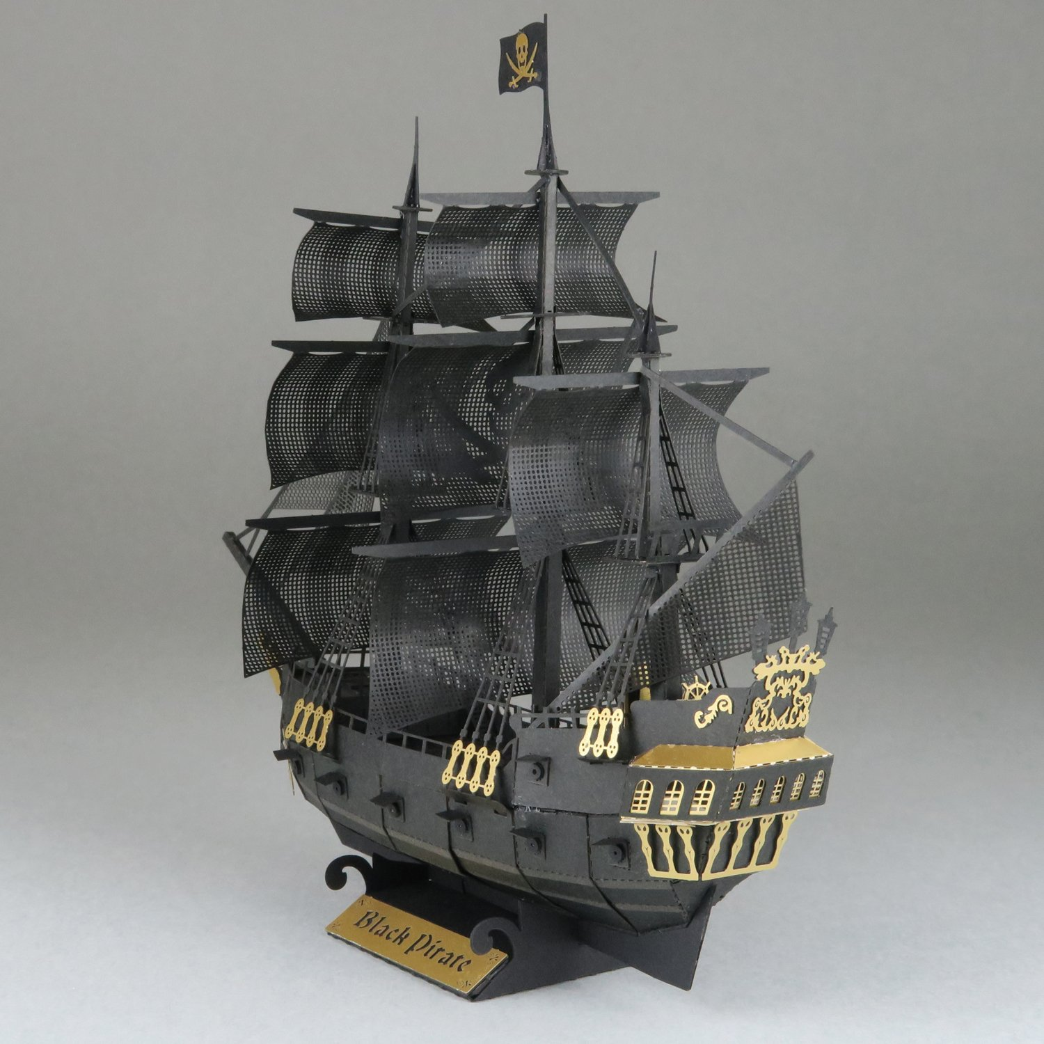 Paper Nano Black Pirate Ship Building Kit Toys Games Parts Of A Tall For Pinterest