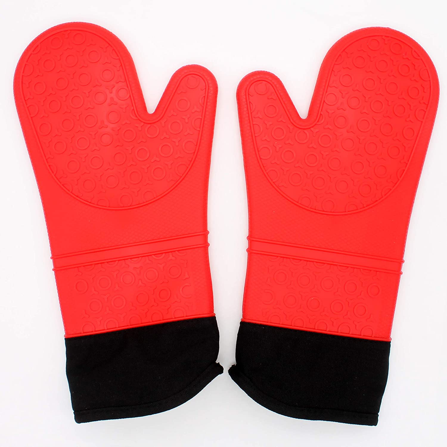 XIE Heat Resistant Silicone Hot Oven Mitts for 500F with Waterproof,1 Pair of Extra Long Size Kitchen Oven Gloves with Soft Cotton Lining for BBQ Cooking,Baking Grilling Microwave Red