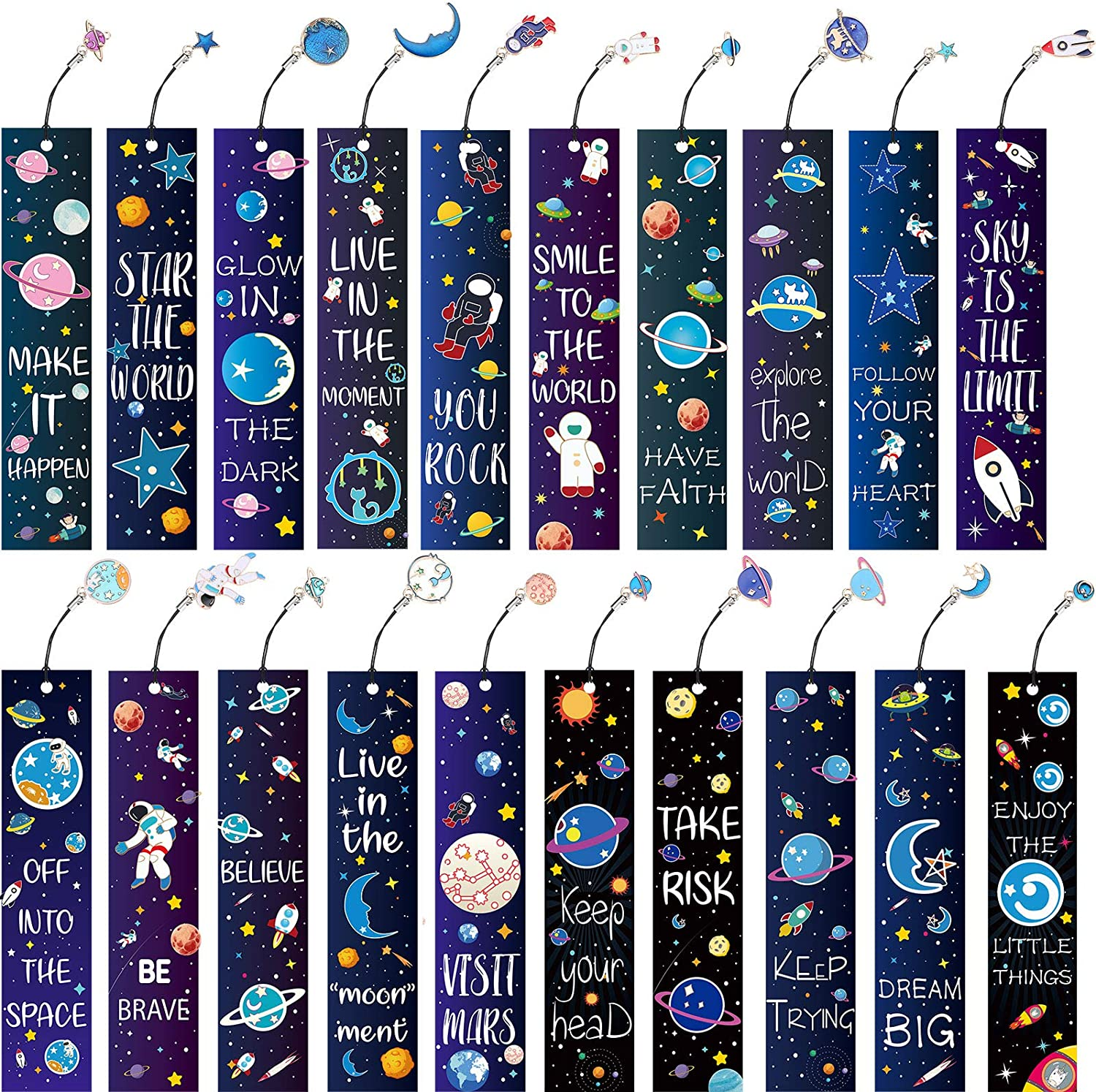 20 Pieces Space Theme Bookmarks Set, Inspirational Quotes Bookmark with Metal Charms Encouraging Bookmark School Prize Bookmark for Students Kids Adults Reading Present Party Favors