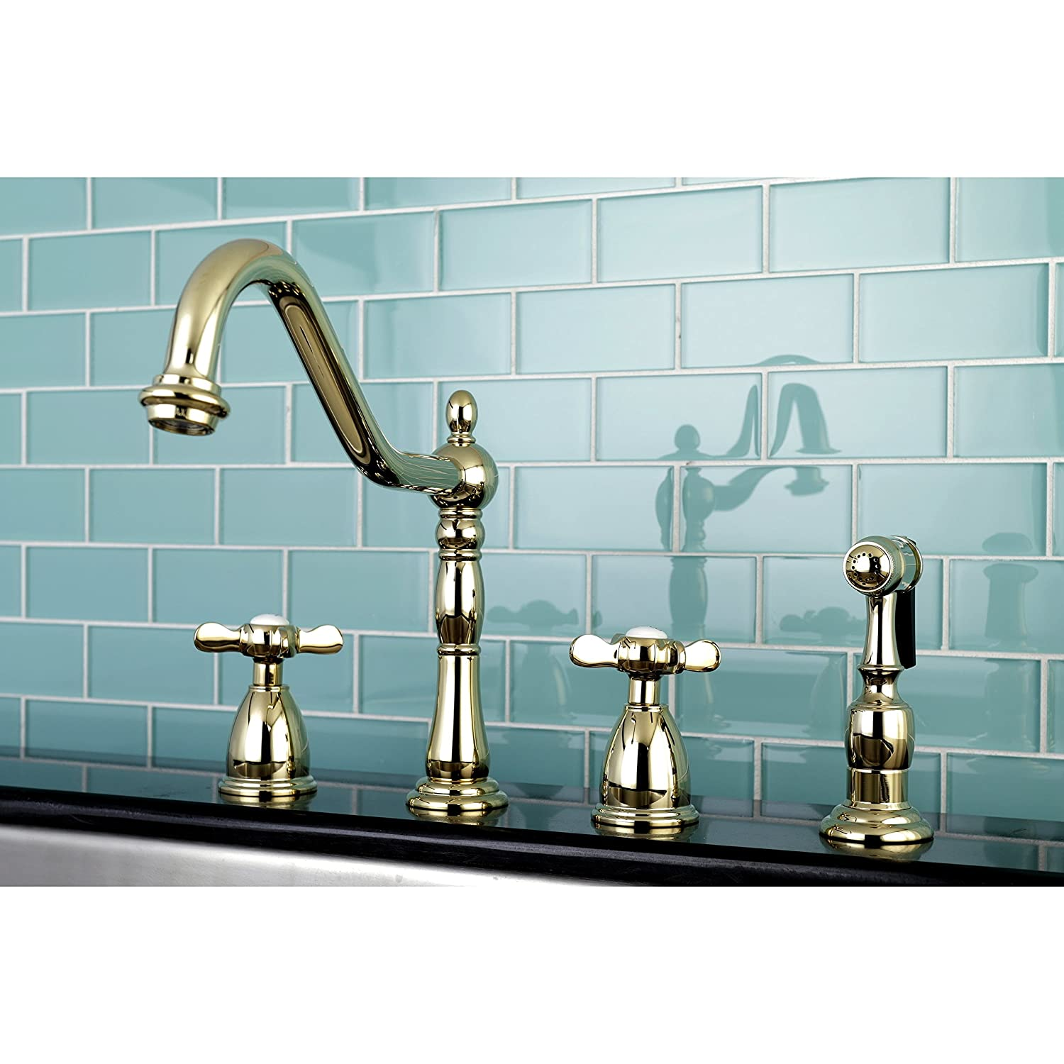 Kingston Brass Heritage Cross Kitchen Faucet with Side Spayer Silver ...