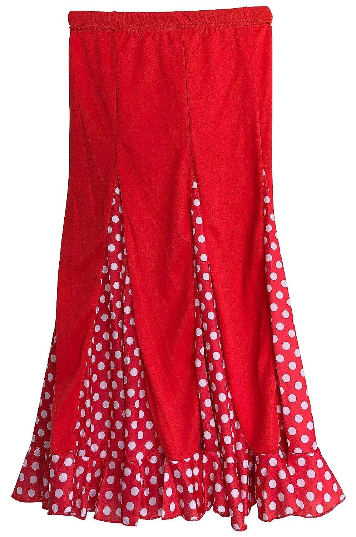 La Señorita スパニッシュ フラメンコ ダンススカート 子供用 レッド ホワイト ドット B07R17K89B  Size 12 - 9/10 years