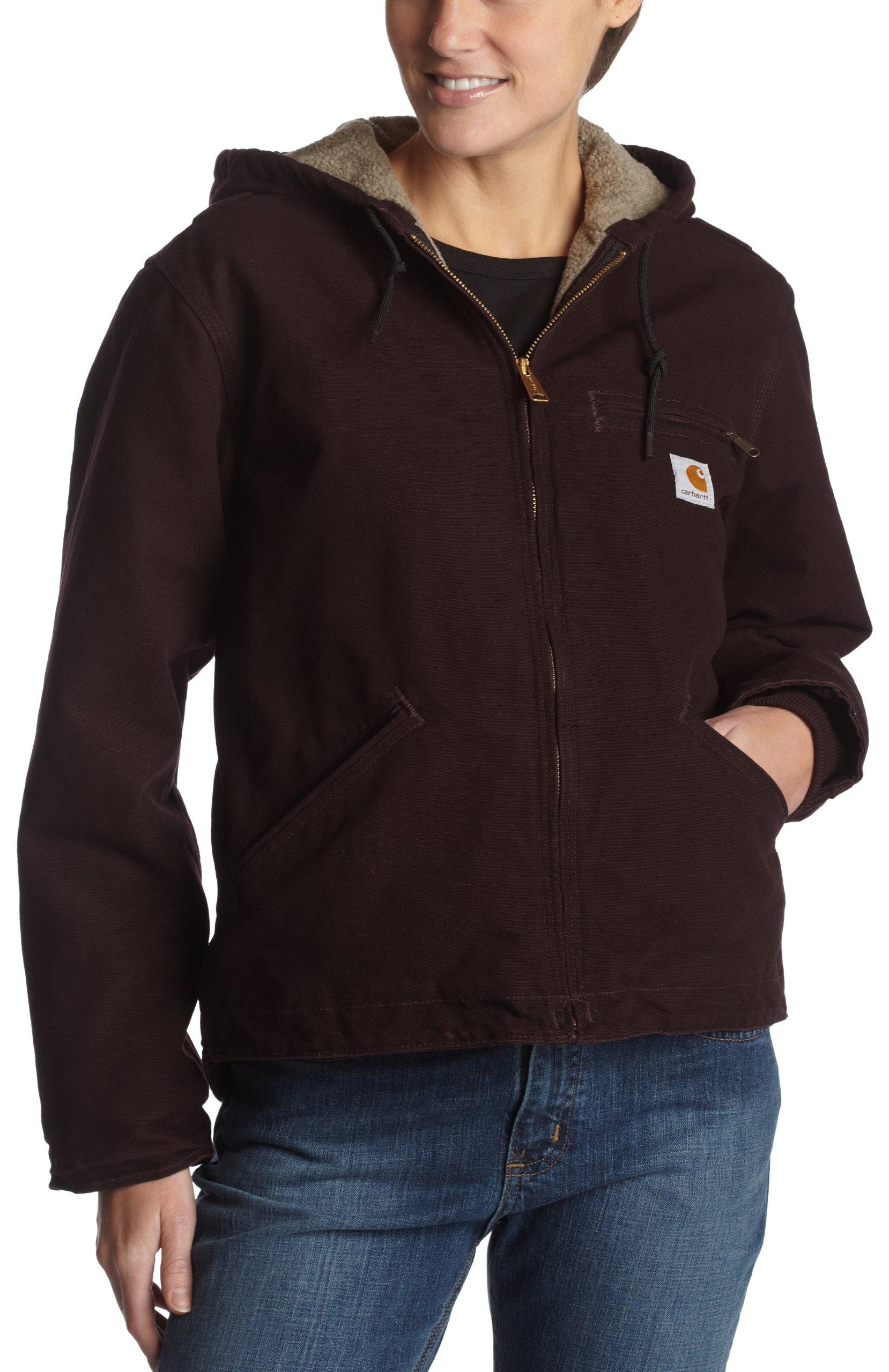 Carhartt Women's Sherpa Lined Sandstone Sierra Jacket Zip Front Hooded WJ141,Deep Wine,Medium