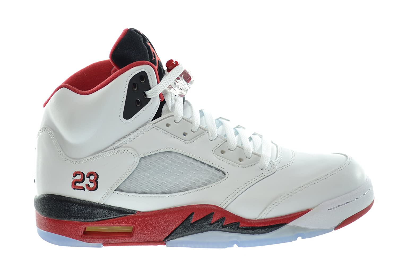 39b2077a121 Amazon.com | Jordan Air 5 Retro Men's Basketball Shoes White/Fire Red-Black  | Basketball