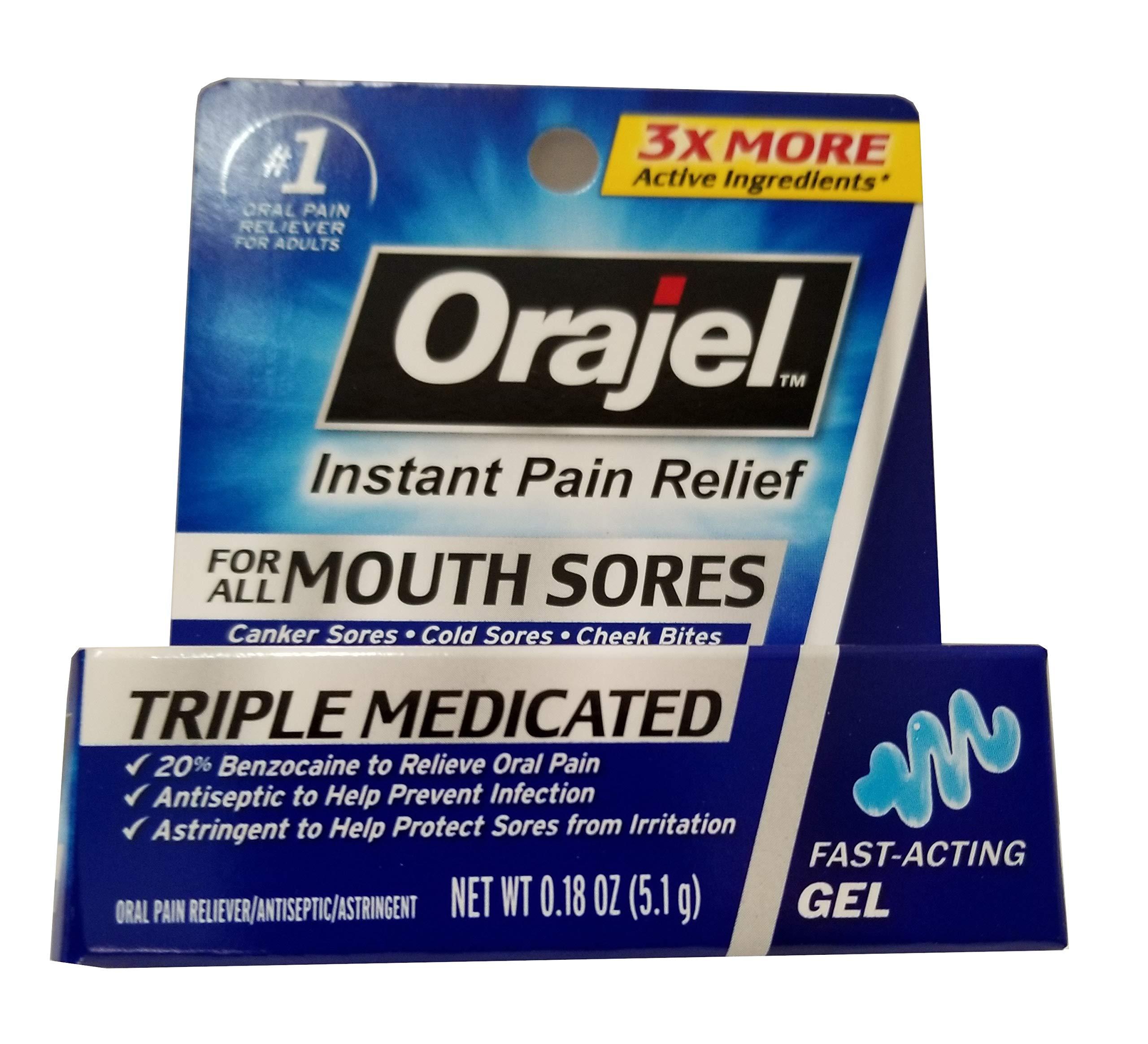 Orajel Mouth Sore Relief Gel, Maximum Strength - 0.18 oz, Pack of 5