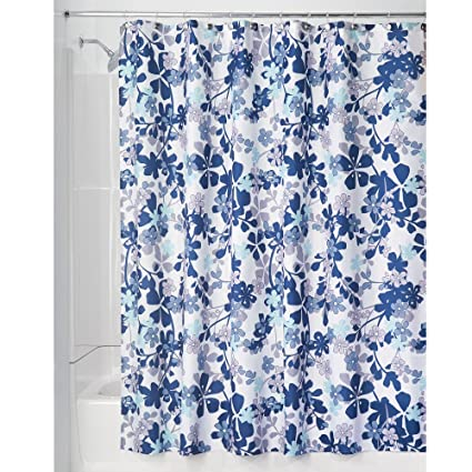InterDesign Large Floral Fabric Shower Curtain For Bathroom 72 X