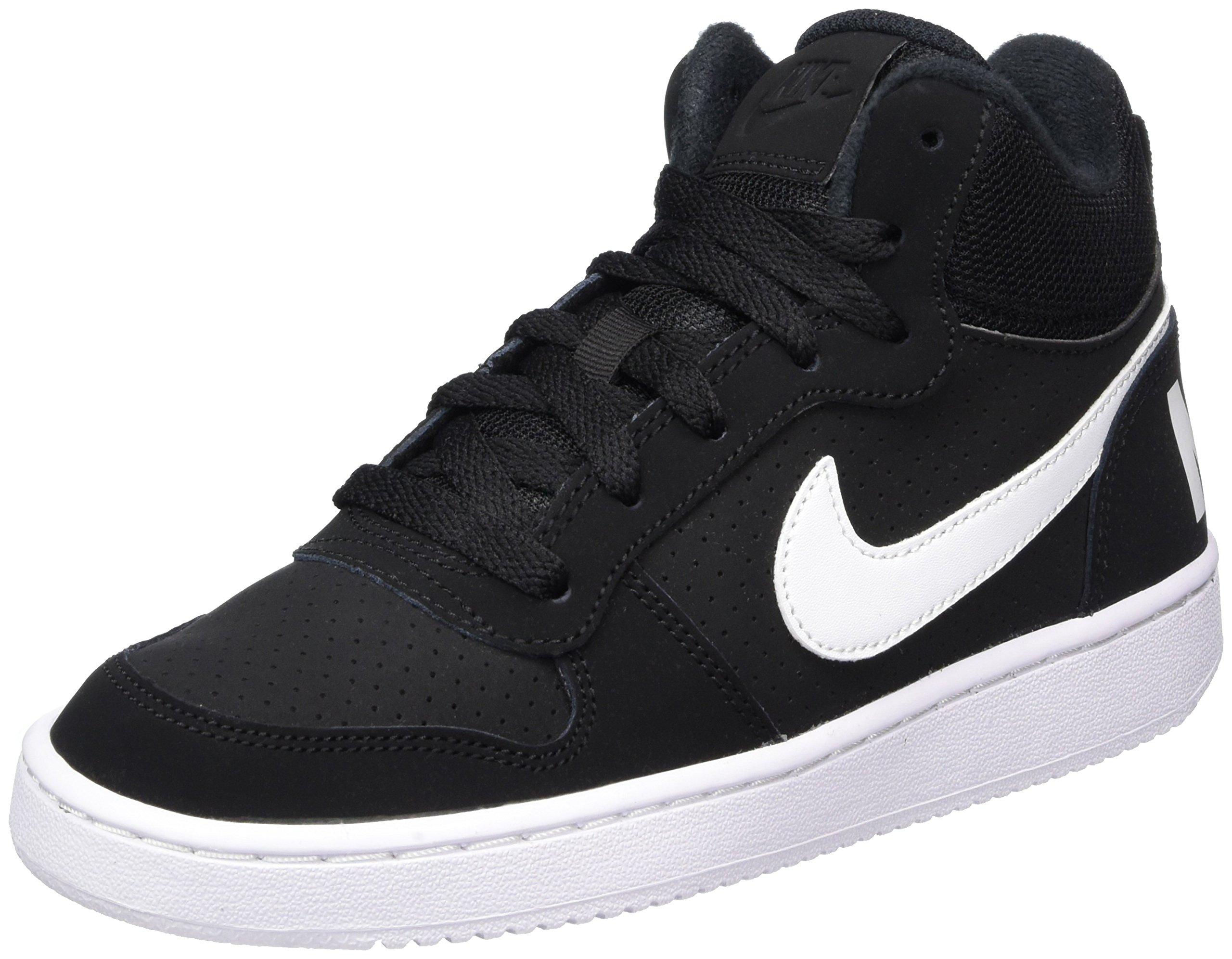 timeless design ab4a9 86c04 Galleon - Nike Court Borough Mid Big Kids Style Shoes   839977, Black White,  6