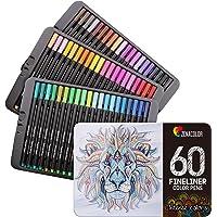 60 Rotuladores Punta Fina Zenacolor - 60 Colores Únicos - Boligrafo Fineliner 0,4 mm - Perfectos para Colorear, Dibujar…