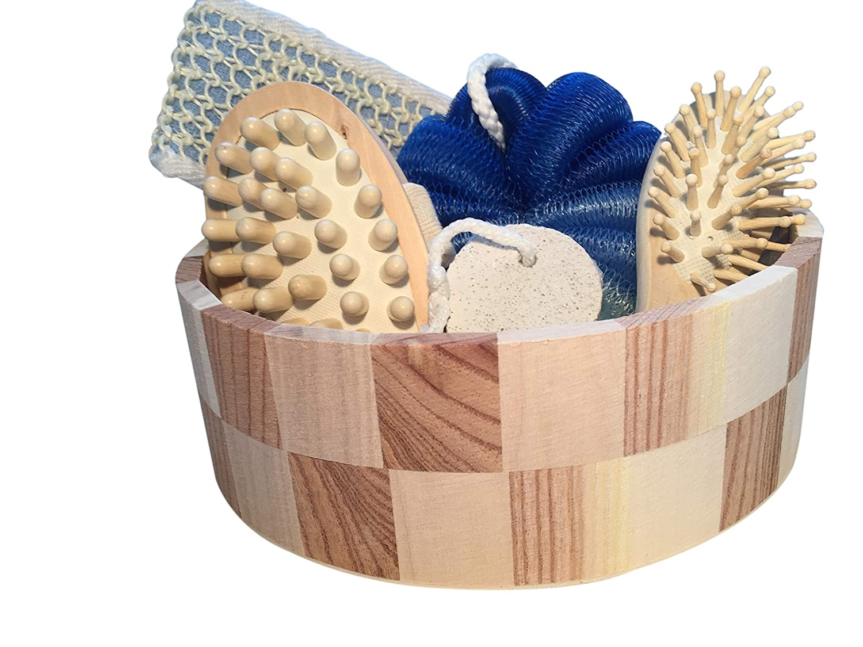 Geschenkset Badezimmer, Sauna,6 teilig, blau/braun Set Holz rund 22x22x7cm Luffaschwamm, Bü rste, Schwamm, Stein Saunaset Badeset
