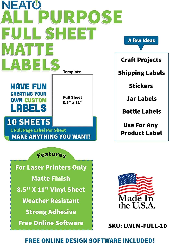 Amazon Com Printable Vinyl Sticker Paper Matte Finish 8 5 X 11 Blank Custom Label Sticker Sheet Water Resistant Tear Free Labels 10 White Sheets For Laser Printers