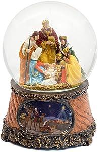 Three Kings Nativity Scene 6 Inch Musical Glitter Dome Plays Tune Little Drummer Boy