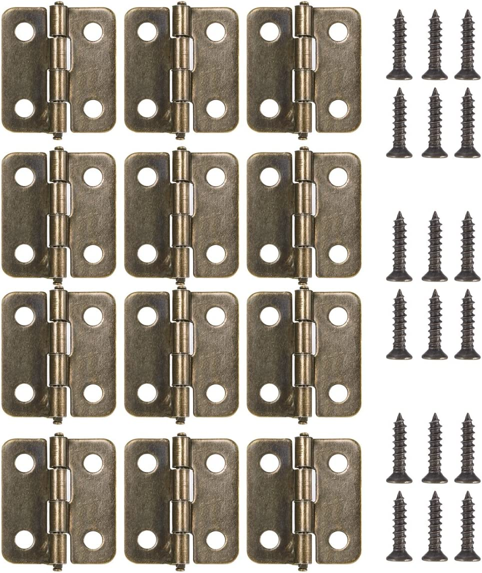 12-Pack with Bronze Screws for Wooden Jewelry Box Cabinet for Lock 18MM Antique Brass Mini Hinges