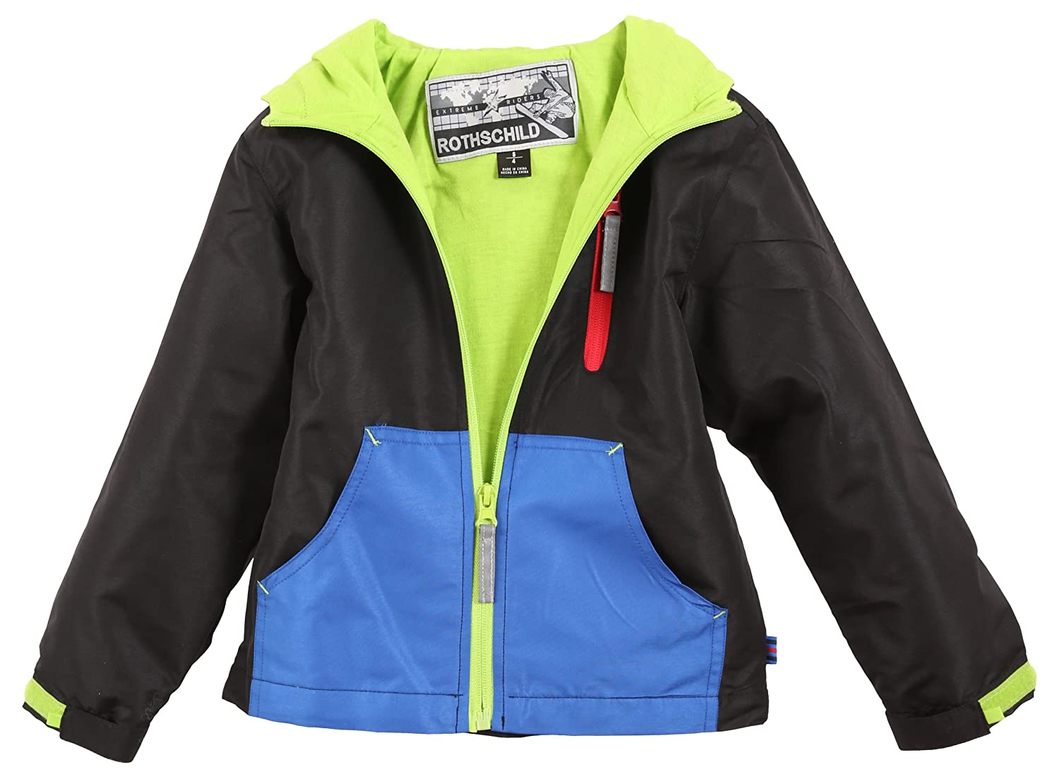 Rothschild Boys Toddlers Fleece Lined Hooded Rain and Spring Jacket - Sizes 2-20
