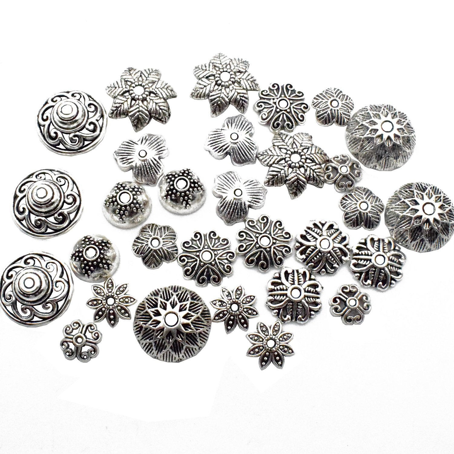 100g (about 75pcs) Mixed Antique Tibetan Silver Bail Tube Beads,Spacer Bead,Bail beads,Bead Hanger Fit Charm European Bracelet Pendant M27 (Bail Tube Beads) yukucharms