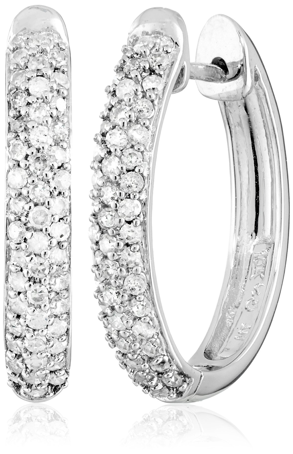10k White Gold Oval Pave Diamond Hoop Earrings (1/2 cttw, H-I Color, I2-I3 Clarity)
